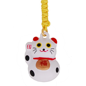 lucky cat white mobile phone charm japanya