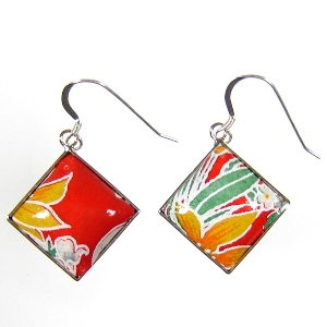 Washi earrings - orange - Japanya :  washi paper designer jewelry japanya