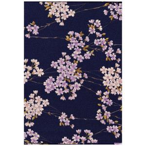 Furoshiki/scarf - flowers - blue