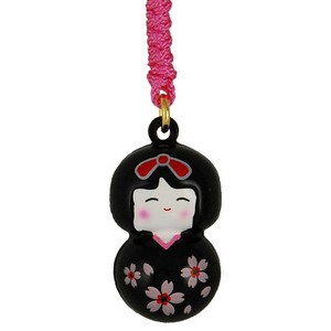 Cherry Kokeshi charm - black