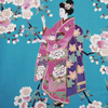 Lady with Blossom Petite Kimono, Turquoise-3