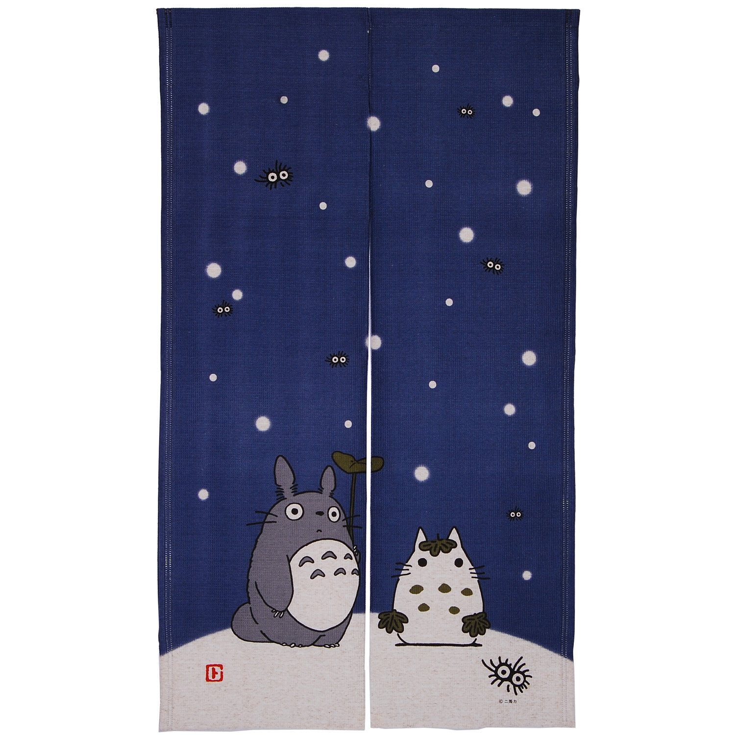Totoro Noren Japanese Curtain (long)   Blue (Snow)