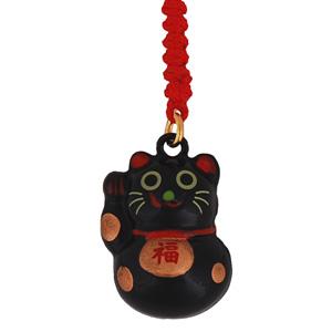 lucky cat black mobile phone charm japanya