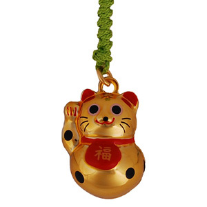 lucky cat gold mobile phone charm japanya