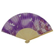 Butterfly Japanese Folding Fan - purple