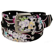 Chirimen belt - black/white