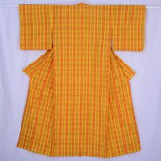 Cotton Checked Yellow Kimono