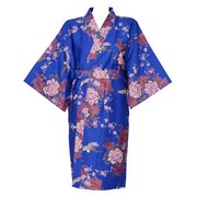 Flying Crane Wrapper (Kimono Dressing Gown) - Blue