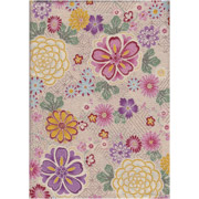 Japanese Furoshiki - Pink & Purple Flowers - cream