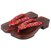 Geta sandals - red (varied pattern)