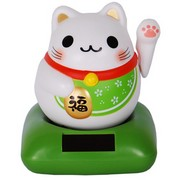 Happiness Solar Chubby Lucky Cat - green (Ocha)