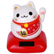 Happiness Solar Chubby Lucky Cat - Red