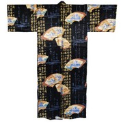 Japanese Fan Men's Silk Kimono - Black
