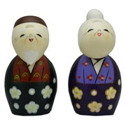 Growing Old Together Kokeshi Dolls Pair
