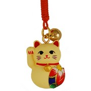 Lucky cat charm with origami patch