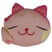 Lucky cat face purse - pink