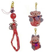 Lucky cat / teddy bear charms - pink
