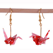 Origami Crane Handmade Earrings - Cherry Blossom
