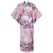 Dynasty in Cherry Blossoms Polyester Kimono, Pink