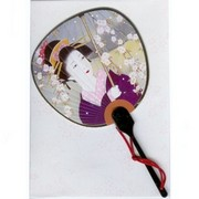 Scented Fan Card - Geisha in purple Kimono