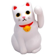 Tenorineko solar lucky cat - white