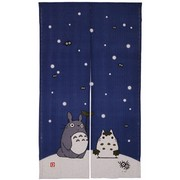 Totoro Noren Japanese Curtain (long) - blue (Snow)