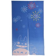 Totoro Noren Japanese Curtain (long) - fireworks